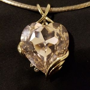 Gold Tone Swsrvoski necklace/choker Pink